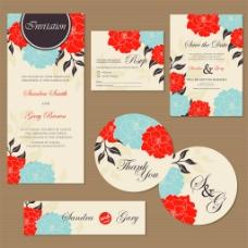 红色花卉贺卡素材图片
