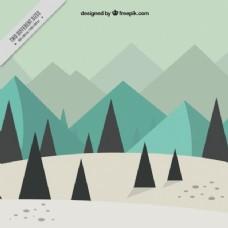 松树林和山地的冬季景观