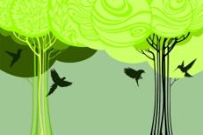 手绘抽象树背景墙