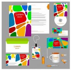 企业形象设计元素与彩色的抽象风格自由向量