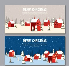 圣诞快乐的红房子的横幅