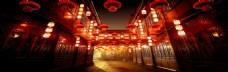 中式街道建筑红色灯笼喜庆