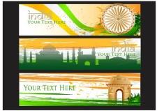 印度门矢量旗帜背景