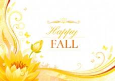 金色秋季宣传单设计素材图片