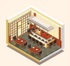 日本餐厅的等距风格