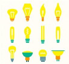 黄色灯泡设计矢量素材