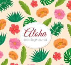 手绘类热带树叶和花卉背景