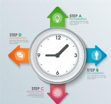 创意时钟商务信息图矢量素材