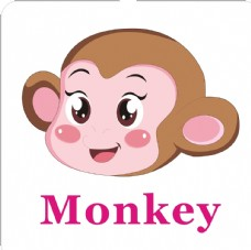 卡通动物头像 猴子加英文名称