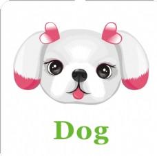 卡通动物头像 小狗加英文名称