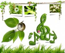 照片墙 绿色音符