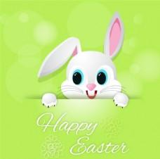 可爱复活节兔子贺卡矢量素材