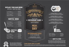 灰色调餐厅菜单设计矢量素材