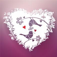 浪漫花纹爱心情侣鸟矢量素材