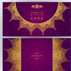 金色花紋紫底祝福卡矢量素材