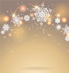 金色光效与雪花背景矢量素材