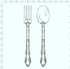 花纹餐勺和餐叉矢量素材