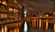 阿姆斯特丹 运河 夜景