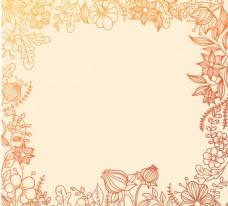 彩绘花卉边框背景矢量素材