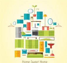 创意家具组合的房屋矢量素材