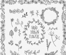 手绘树叶花枝设计矢量素材