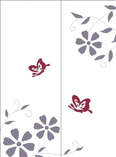 花朵蝴蝶 烤漆移门