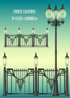 街灯和围栏