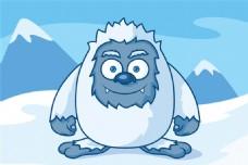 卡通雪山怪物设计矢量素材