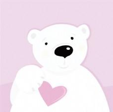 淡紫色爱心北极熊矢量素材