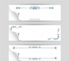 白色花纹banner矢量素