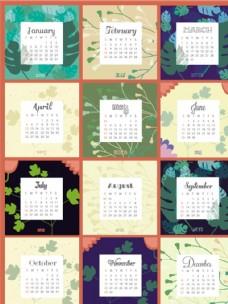 2015年花卉装饰月历矢量素材