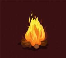 卡通篝火设计矢量素材