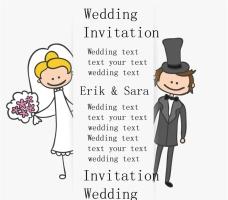 卡通婚礼邀请卡设计矢量素材