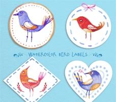水彩绘鸟类标签矢量素材