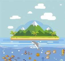 创意岛屿 海洋风景矢量素材