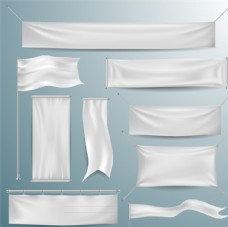 悬挂的白色绸布横幅矢量素材