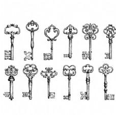 古典钥匙设计矢量素材