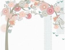 淡雅圆形花朵大树底纹背景