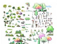 手绘园林景观树木人物立面效果图