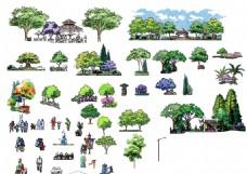 手绘园林景观树木立面效果图素材