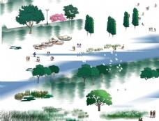 手绘园林景观树木划船效果图