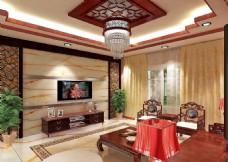 简中式客厅效果图