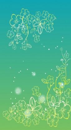 渐变绿色小花