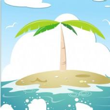 海洋沙滩椰子树