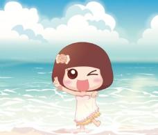 动漫卡通海边小女孩