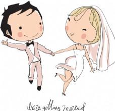 卡通婚礼人物新娘新郎