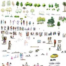 园林景观树木人物立面手绘效果图