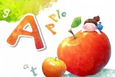 唯美苹果字母背景底纹