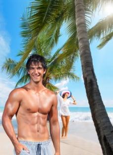 海边度假帅哥图片