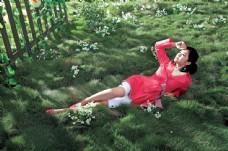 躺在草地上的明星图片